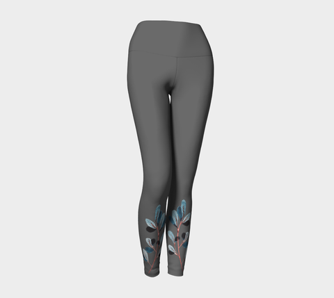 Charcoal Botanical Yoga Leggings