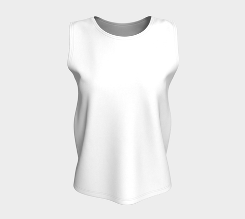 White Solid Color Loose Fit Tank Top