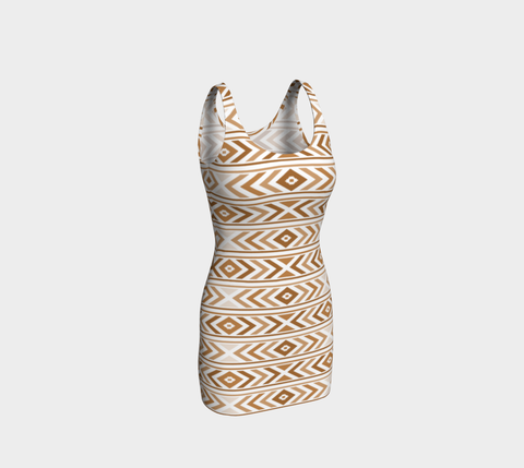 Tan Chevron Bodycon Fitted Dress