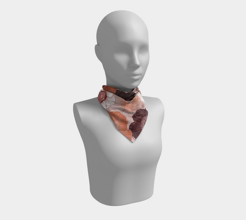 Pink/Coral/Black Bold Blooms Square Scarf/Shawl