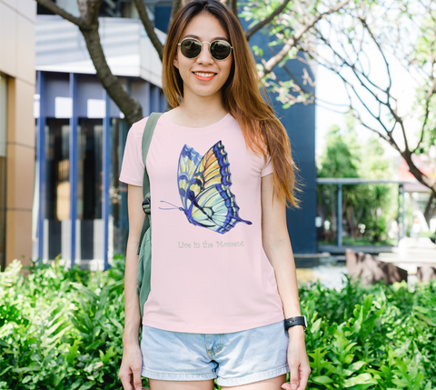 """Live in the Moment"" Women's Watercolor Butterflies II Pink Slim-Fit T-Shirt"