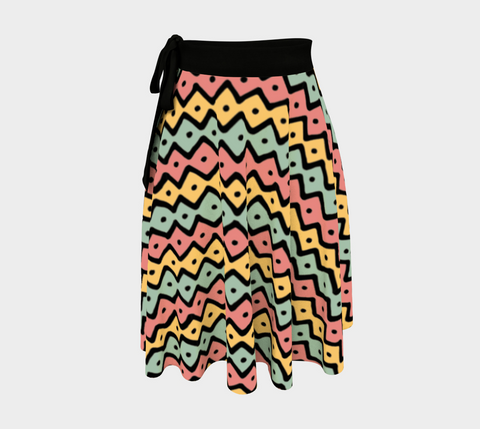 Gold/Pink/Green African Motif Amazing One-Size Wrap Skirt