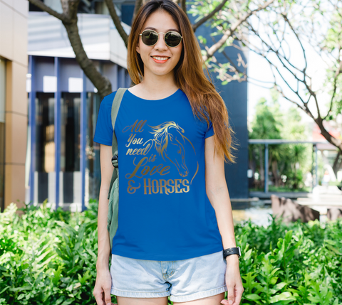 """All You Need is Love & Horses"" Horse Lovers Women's Royal Blue Slim-Fit T-Shirt"