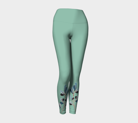 African Turquoise Watercolor Botanical Yoga Leggings