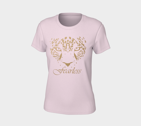 """Fearless"" Pink Gold Leopard Logo Slim-Fit T-Shirt"