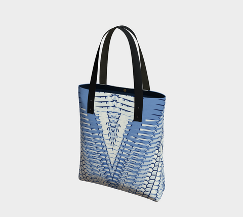 Winter White & Denim Blue Shianna Chic Tote Bag