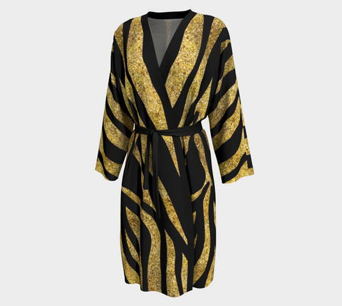 Gold Dust/Black Stripe Tahiti Long Kimono