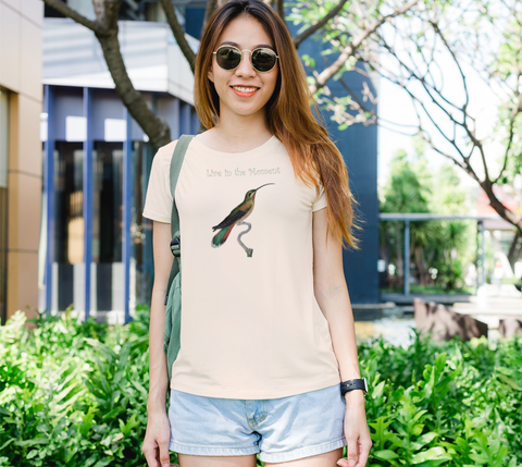 """Live in the Moment"" Long-Tailed Hermit Hummingbird Cream Slim-Fit T-Shirt"