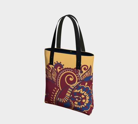 Gold/Red/Navy Whimsical Paisley Chic Tote