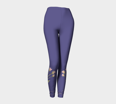 Violet Blue Watercolor Flowers Leggings