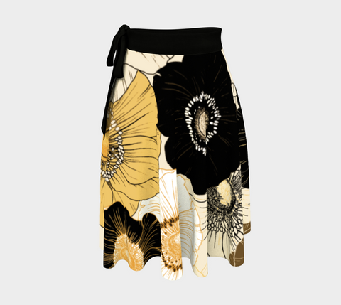 Gold/Cream/Black Bold Blooms Amazing One-Size Wrap Skirt