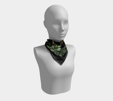 Fern Gold Leopard Logo Black Square Scarf/Shawl