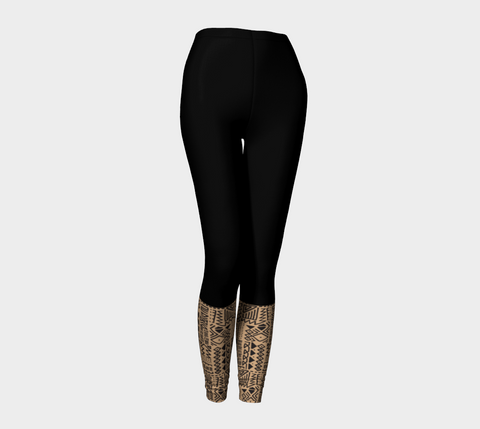 Black & Sand  African Motif Leggings