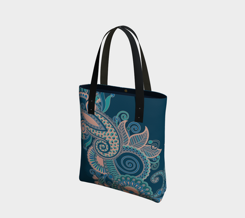 Teal/Pink Whimsical Paisley Chic Tote