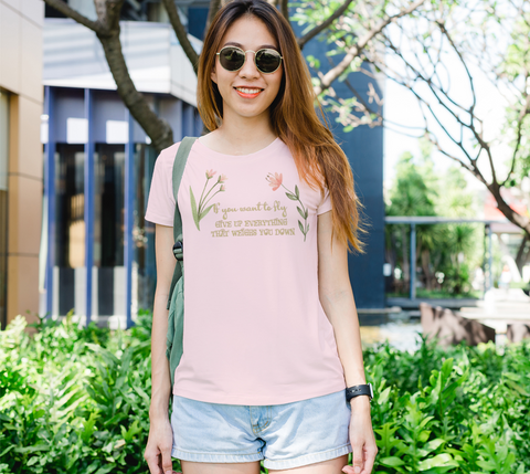 """If you want to fly..."" Watercolor Flowers Women's Slim-Fit Pink T-Shirt"