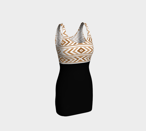 Tan/Black Chevron Bodycon Fitted Dress