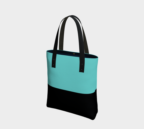 Neon Turquoise & Black Color Block Tote Bag