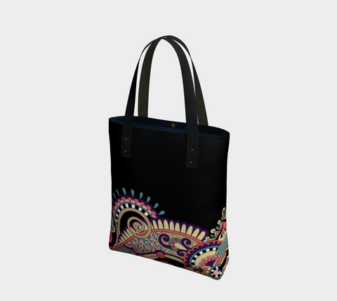 Pink/Black Whimsical Paisley Chic Tote