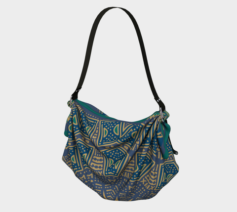 Green/Purple/Navy African Motif Origami Bag/Shawl/Scarf