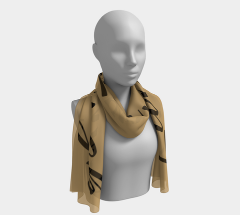 Gold Live, Love, Laugh Inspirations Long Scarf