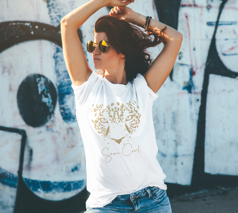 White Leopard Logo Relaxed-Fit T-Shirt