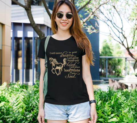 """I will dance..."" Women's Horse Lovers Gold on Black Slim-Fit T-Shirt"