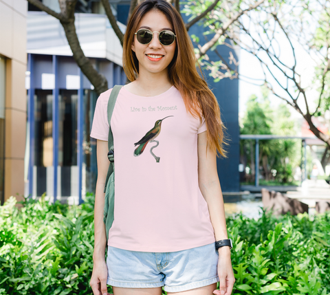 """Live in the Moment"" Long-Tailed Hermit Hummingbird Pink Slim-Fit T-Shirt"