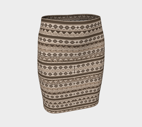 Sepia Chevron Fitted Skirt