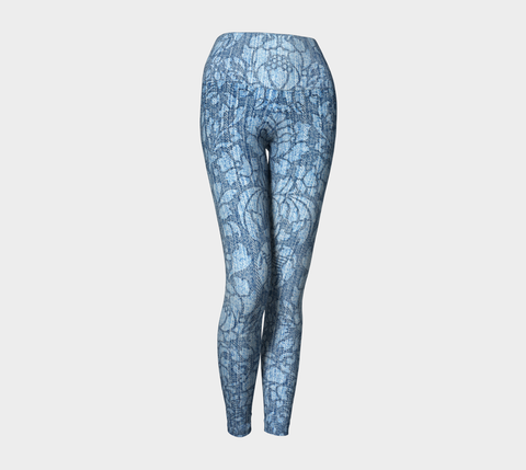 Vintage Damask Blue Bayou Yoga Leggings