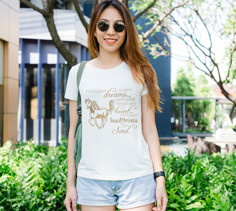 "Horse Lovers "" I will dance..."" Women's Gold Galloping Horse White Slim-Fit T-Shirt"