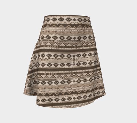 Sepia Chevron Flare Skirt