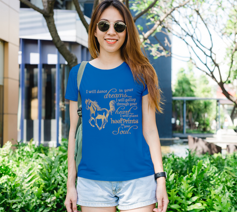 "Horse Lovers "" I will dance..."" Women's Gold Galloping Horse Royal Blue Slim-Fit T-Shirt"