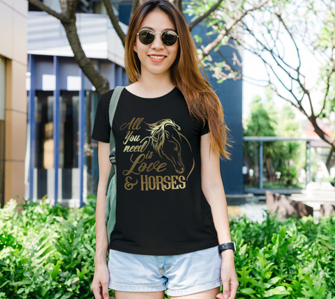"""All You Need is Love & Horses"" Women's Horse Lovers Black Slim-Fit T-Shirt"