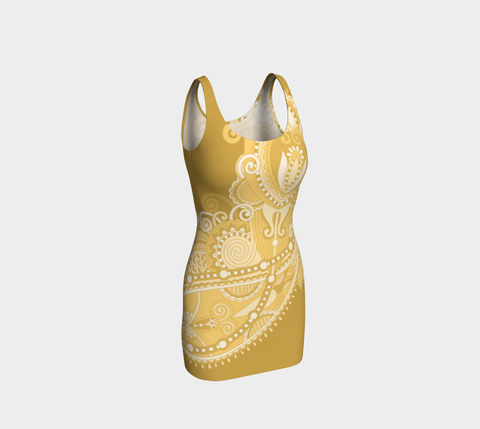 Marigold Whimsical Paisley Bodycon Fitted Dress