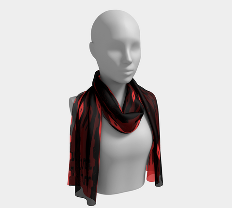 Red& Black  African Motif Scarf