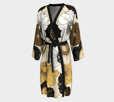 Gold/Cream/Black Bold Blooms Long Kimono