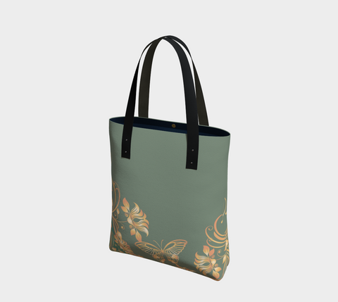 Jade/Peach/Gold Butterfly Chic Tote