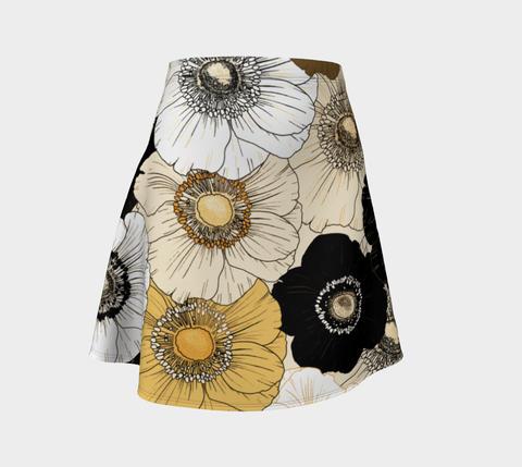 Gold/Cream/Black Bold Blooms Flare Skirt