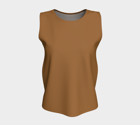 Rich Brown Solid Color Loose Fit Tank Top