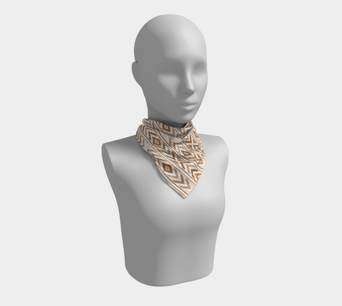 Tan Chevron Square Scarf/Shawl