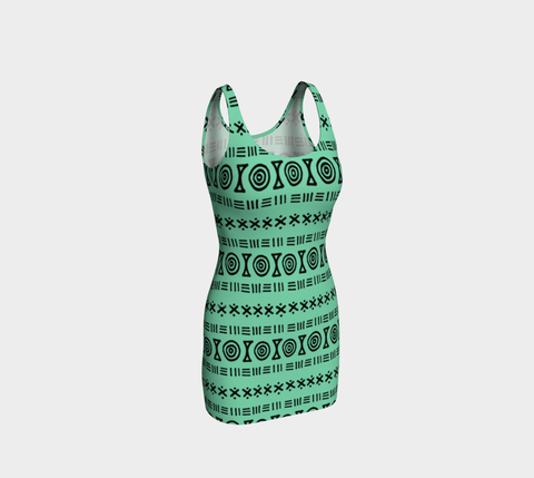 Bermuda Green  African Motif Bodycon Fitted Dress