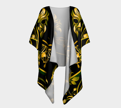 Black/Green/Gold Butterfly Draped Kimono
