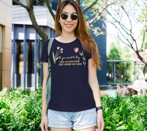"""If you want to fly..."" Watercolor Flowers Women's Slim-Fit Navy T-Shirt"