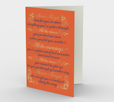 """Never forget how far you've come..."" Orange Watercolor Flowers Card (3 Pack)"