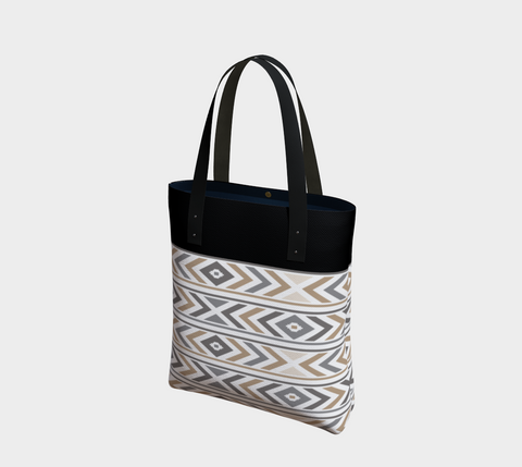 Black & Graystone Chevron Chic Tote