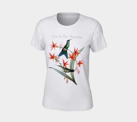 """Live in the Moment"" Violet-Capped Wood Nymph Hummingbird White Slim-Fit T-Shirt"