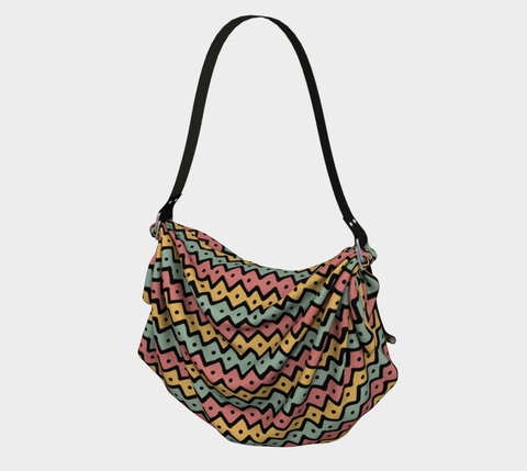 Gold/Pink/Green African Motif Origami Bag, Shawl and Scarf
