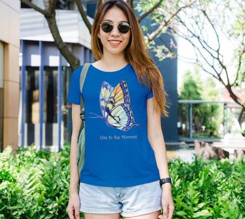"""Live in the Moment"" Women's Watercolor Butterflies II Royal Blue Slim-Fit T-Shirt"