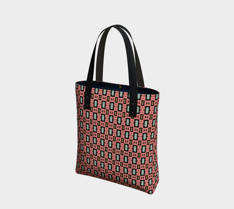Pink/Green African Motif Chic Tote