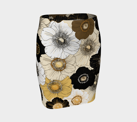 Gold/Cream/Black Bold Blooms Fitted Skirt